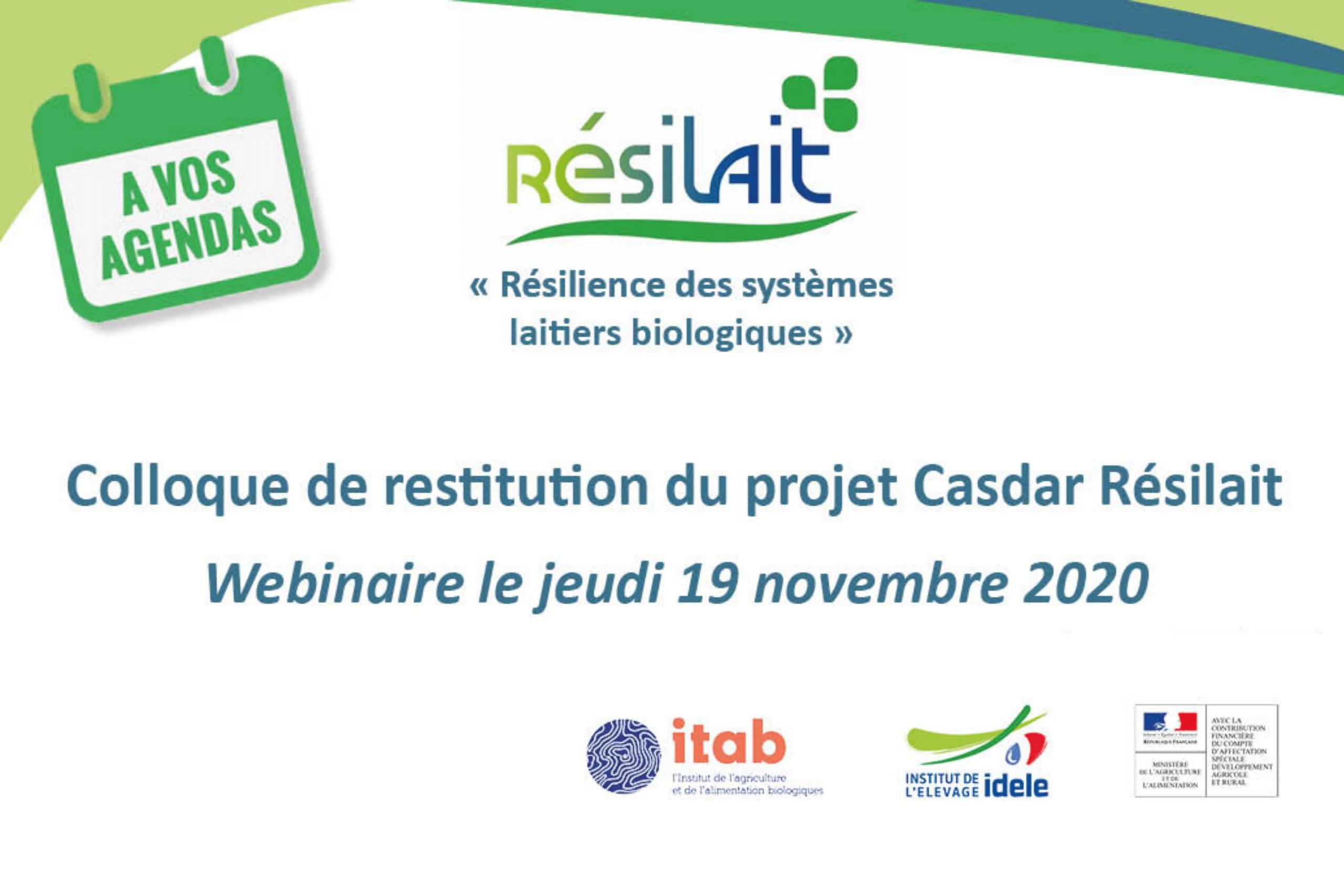 Projet Résilait : le séminaire de restitution aura bien lieu le 19 novembre, mais en webinaire !